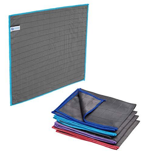 4Clean® Carbon Microfaser Allzweck-Reinigungstücher I Streifenfreie Putztücher für Küche, Auto, Bad, Fenster (4er Set - 4 Tücher)