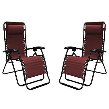Caravan Sports Infinity Zero Gravity Chair - 2 Pack, Burgundy