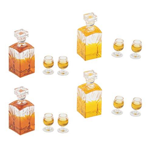 harayaa Dollhouse Botella de Vino de Whisky 4X en Escala 1:12 con 8 Tazas de Pub Bar