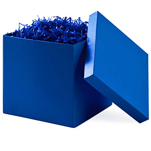 Hallmark 7' Gift Box with Lid (Royal Blue) for Birthdays, Father's Day, Bridal Showers, Weddings, Baby Showers, Christmas, Hanukkah and More