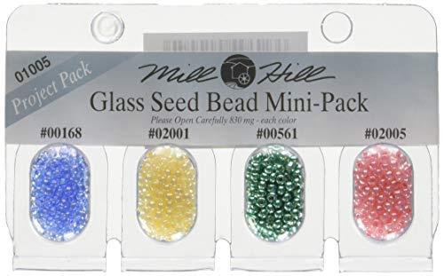 Mill Hill Glass Seed Beads Mini Packs 830mg 4/Pkg-00168, 02001, 00561, 02005