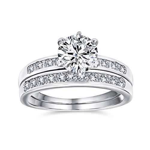 Bling Jewelry 2Ct Zirconio Cúbico Redondo Solitario 6 Prong Pave Banda AAA Compromiso Conjunto Juego Anillo Bodas Plata Esterlina 925