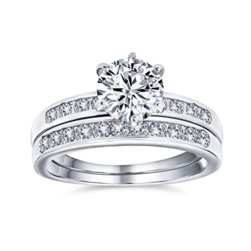 Bling Jewelry Vintage Round Cut CZ Engagement Wedding Ring Set 1.5ct - Size 7