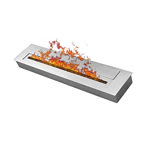 DRULINE 80cm Feuer Regulierbare doppelwandige Edelstahl Brennkammer Füllmenge: ca. 4 Liter Behälter 900x400 für Bio- EthanolKamin/Gelkamin Wandkamin Brenner Brenngel Kamin Tischkamin Brennsystem mit sicherem Brennblock mit Flammenregulierungsabdeckung inklusive Schieber & Keramikschwamm –Silber