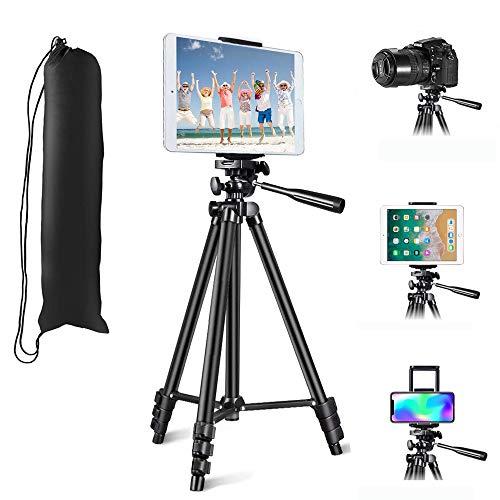 Trípode Móvil, MOREVON Trípode para Tableta Cámara Móvil (53'' / 130 cm) Trípode de Aluminio con Bluetooth, Soporte de Teléfono/Tableta, Bolsa, Tornillo de 1/4', Trípode para Video/Teléfono/Cámara