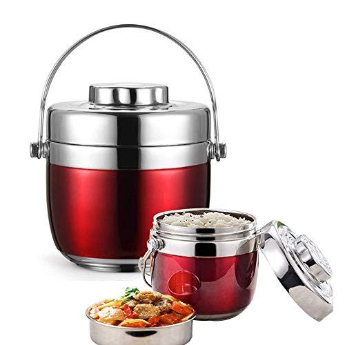 HENGTONGTONGXUN - Fiambrera para niños con aislamiento de alimentos, caja de almuerzo de acero inoxidable para almacenamiento de alimentos al aire libre, producto simple y práctico (color: rojo)