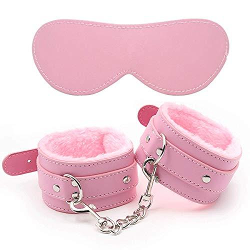 Juego de esposas de piel ajustables con máscara para los ojos, puños de piel suave, brazalete multifuncional, color rosa