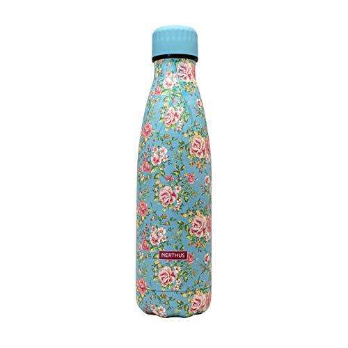 NERTHUS FIH 775 Botella Termo Doble Pared diseño Flores pequeñas Color Verde 500ml, Acero Inoxidable, Libre de BPA, 18/8, 500 ml