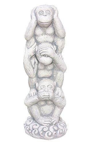 Figurenset DREI Affen, Nichts Hören, Nichts Sehen, Nichts Sagen Figuren aus frostfestem Steinguss
