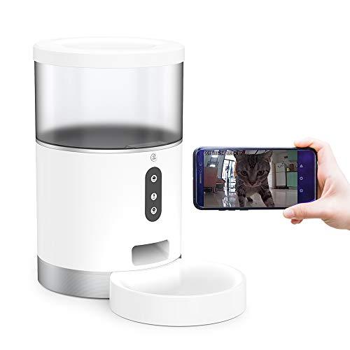 JINDING ペットフィーダー ペットカメラ 自動給餌器 猫 犬 留守番 4L 大容量 Alexa/Google Home 対応