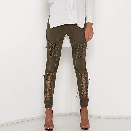 Haowen Wildleder Bleistift Hose Lace Up Freisteller Mode Hosen Für Frauen Verband Legging Hosen Lace-Up Frauen Hosen,Armeegrün,S