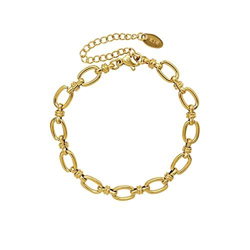 Collar De Acero De Titanio - Collar De Cadena Geométrica, Cerradura De Anillo Collar De Cadena Gruesa Conjunto De Pulsera,Bracelet Gold