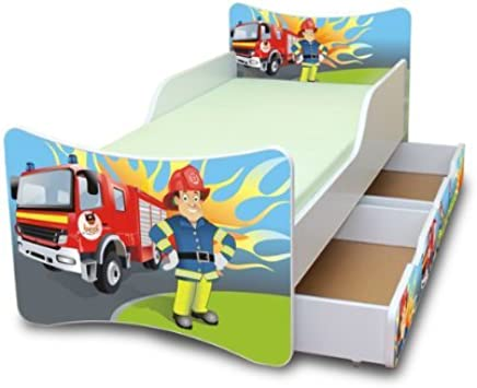 Best For Kids CHIDREN S BED with foam mattress with T V CERTIFIED 90x180 WITH TWO DRAWERS DESIGNS     children     fire brigade