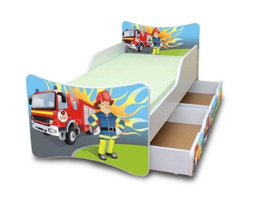 Best For Kids Kinderbett mit Schaummatratze mit TÜV Zertifiziert 90x200 MIT Zwei SCHUBLADEN 25 Designs (**Kinder**, Feuerwehr)