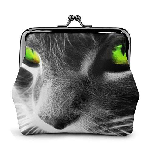 Cool Cats PU Cuero Exquisito Hebilla monederos Vintage Bolsa clásica Kiss-Lock Cambio Monedero Carteras Regalo
