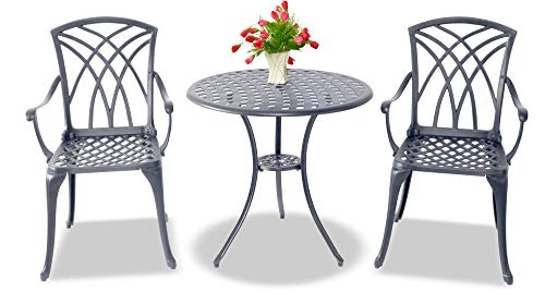 Centurion Supports OSHOWA Luxurious Garden £ Patio Table £ 2 Large Chairs with Armrests Cast Aluminium Bistro Set - Graphite