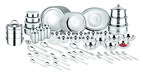 Classic Essentials Stainless Steel Dinner Set - Set of 83 Pcs, Silver