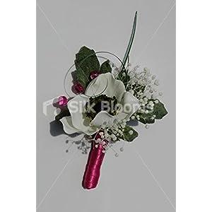 Silk Blooms Ltd Beautiful Ivory Anemone Wedding Buttonhole w/Dried Gypsophila