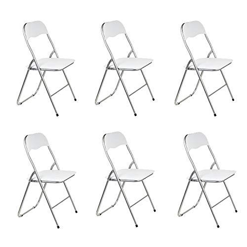 TIENDA EURASIA Pack 6 Sillas Plegable de Aluminio con Respaldo y Asiento Acolchado en PVC Ideal para Cocina, Comedor, Salón,...
