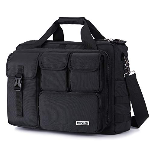 Lifewit 17 inch Men's Military Laptop Messenger Bag Multifunction Tactical Briefcase Computer Shoulder Handbags, Black
