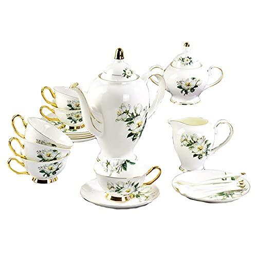 15 Pieces Afternoon Tea Set Porcelain Tea Set For Adults Coffee Cups Set Vintage British Royal High Grade Bone China Cups Birthday Gift Wedding Tea Service
