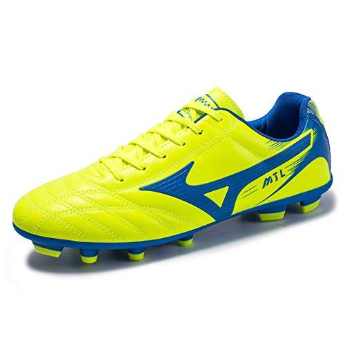 Calzado de fútbol para niños Hombre Botas de fútbol para Interior y Exterior Athletic Turf Mundial Team Cleat Running Sports Ligero Transpirable Antideslizante Zapatos de amortiguación Verde 38