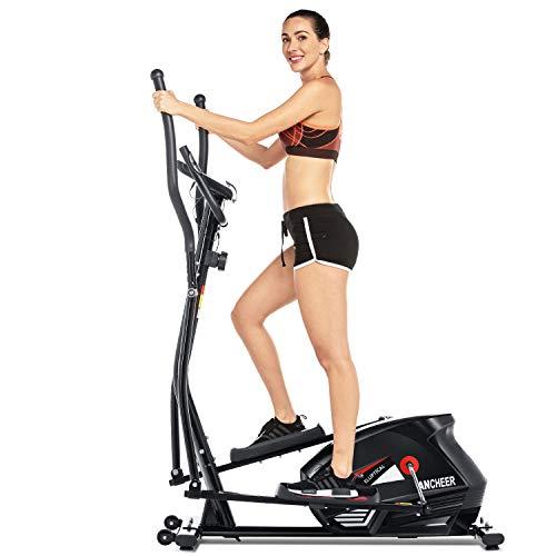 ANCHEER Vélo Elliptique Fitness d'Appartement Cross Trainer avec 10 Niveaux de résistance/APP/PorteTablette/Fréquence Cardiaque, Exerciseur Équipement Cardio pour Sport de Fitness à Domicile (Noir)