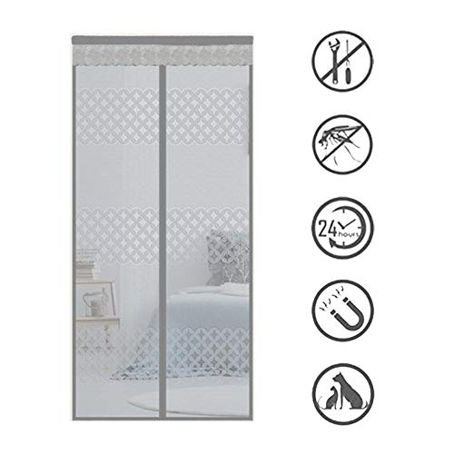 Magnetic Fly Screen Door, Anti-mosquito Curtain, Super Quiet Stripes Encryption, Keep Bug Out Let Fresh Air In for Balcony Sliding Living Room Children's Room/Gris / 200 * 220cm