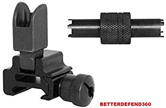 GOTICAL Combo of Front High Profile BUIS Flip Up Backup Iron Sight + .223 A1 A2 Carbine Dual Front Sight Adjustment Tool 4 & 5 Prong Long