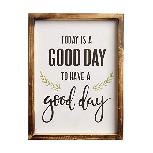 Jessac Distressed Wood Framed Farmhouse Décor Signs 12 X 16 inch Hanging Rustic Wall Art with Inspirational Quote for Home, Kitchen, Bathroom - Today is A Good Day to Have A Good Day