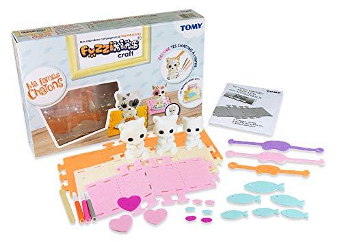 Fuzzikins Craft Cozy Cats – 3 abwaschbare Katzen Bastelfiguren zum phantasievollen Bemalen & Bekleben - mit buntem Zubehör – Für Kinder ab 3 Jahren geeignet