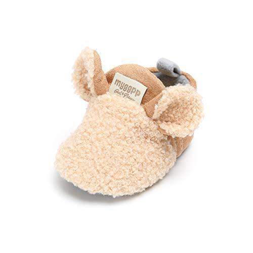 LACOFIA Chaussures Premiers Pas d'hiver pour bébé garçon ou Fille Bottines Chauds antidérapants à Semelle Souple Kaki 6-12 Mois