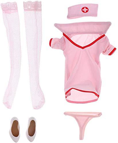 ZSMD Sexy verpleegster uniform pak set ondergoed schoenen in schaal 1/6 voor 12 '' afbeelding - roze