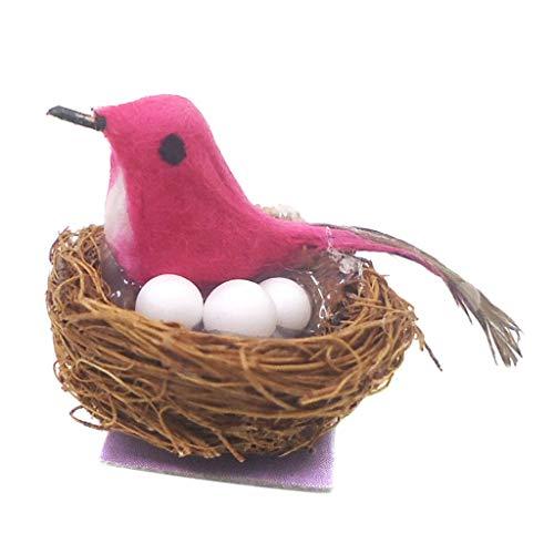 Baoblaze 1pcs Miniatur Vogelnest Vogelhaus Modell für 1/12 Puppenhaus Garten Dekoration - Rosa