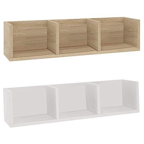 Generisch Wandregal aus Holz für Wohnzimmer Kinderzimmer Küche Badezimmer Bücherregal CD Deko mit 3 Fächern (weiß)