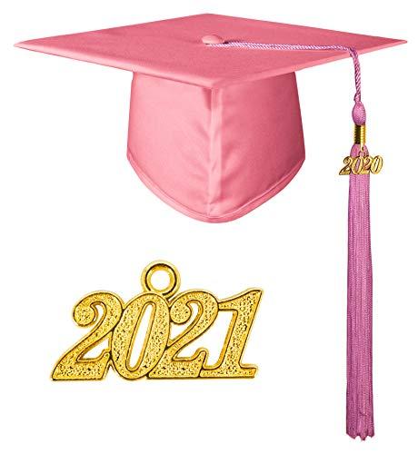 GraduationMall Doktorhut Studentenhut,Uni Abschluss Hut 2020 Anhänger Quaste für die Abschlussfeier vom Hochschule,Abitur,Bachelor Hut Rosa