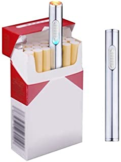 USB Mini Lighters Electronic Rechargeable Windproof Flameless Portable Cigarette Slim Lighter (Silver)