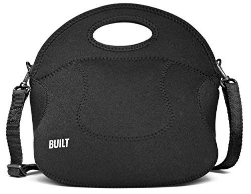 BUILT Spicy Relish Tote Neoprene Lunch Bag with Adjustable Crossbody Strap Black LB12-BLK