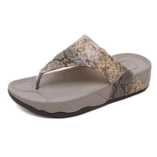 Yaoni Zapatos for Mujer Chanclas Sandalias Planas Pacific High Tide Plataforma for Vacaciones Barefoot Toepost Sandalias (Color : Beige, Size : 39 EU)