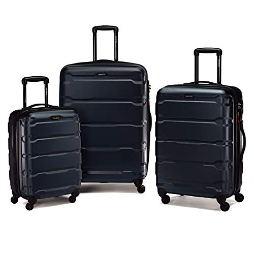 Samsonite Omni PC Hardside Expandable Luggage with Spinner Wheels, Navy, 3-Piece Set (20/24/28)