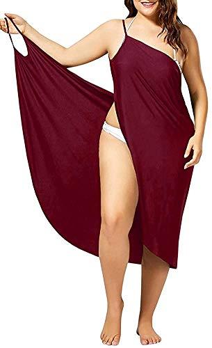 SMACO 2 in 1 Handtuch Kleid, Frauen Schwimm Vertuschungen & Sarongs, Bikini-Vertuschung-Spaghetti-Bügel-Strand-Kleid-Verpackungs-Badebekleidungs-Badeanzug,Rot,XXXXXL
