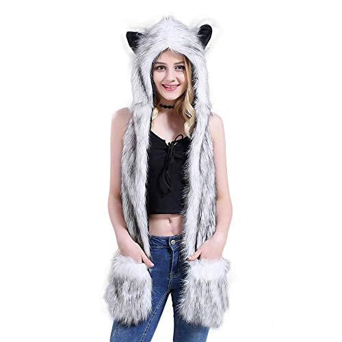 Unisex Faux Fur Hat Scarf Gloves Hoodie Paw Mittens Plush Animal Hats Furry Hat Hood (A)