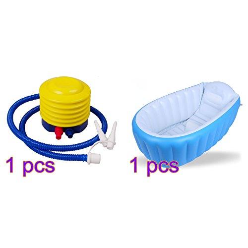 Moonvvin Baignoire gonflable pour bébé, mini piscine aérienne portable pour enfant enfant enfant enfant épais pliable avec coussin doux siège central avec pompe de gonflage