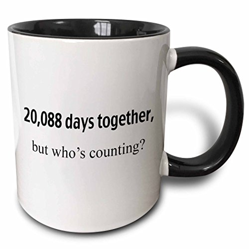 3dRose 20,088 Days Together, Who's Counting Two Tone Mug, 11 oz, Black/White
