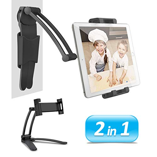 AYADA Kitchen Cabinet Tablet Holder, 2 in 1 Wall Mount Desktop Stand for ipad 12.9 Aluminum Alloy Metal Adjustable Multiangle Foldable Universal Phone Tablet Bracket Cooking Table Counter Top (Black)
