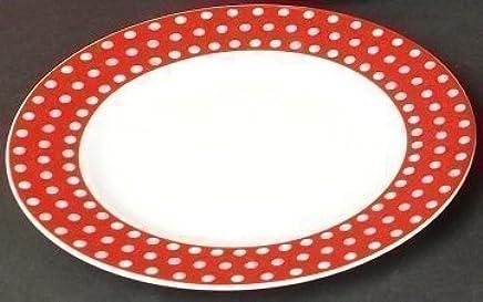 Preisvergleich für 6 Kuchenteller Dessert Teller flach Kasva Punkte Dekor 21cm Neu Rund Porzellan 6 Personen