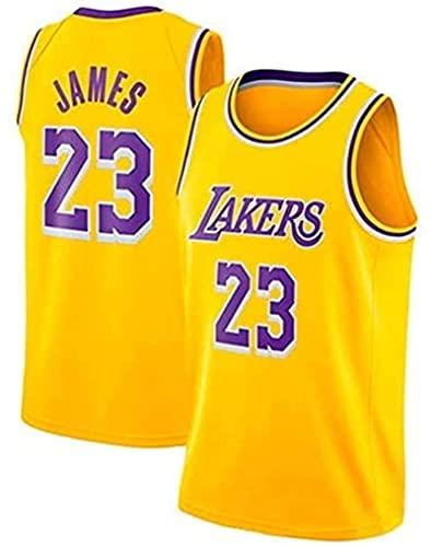 EWSDF Camisetas de Baloncesto para Hombre Camisetas de Lebron No.23 Lakers, Ropa Deportiva, Camisetas sin Mangas Unisex Camisetas de Baloncesto de Malla Bordadas Swingman S Amarillo