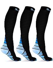 CAMBIVO 3 paar compressie sokken voor vrouwen en mannen, geschikt voor hardlopen, atletische sporten, Crossfit, vlucht, reizen, zwangerschap, verpleegkundigen
