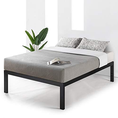 Mellow 18 inch Heavy Duty Steel Platform Beds w/Wood Slat Mattress Foundation, Full, Black