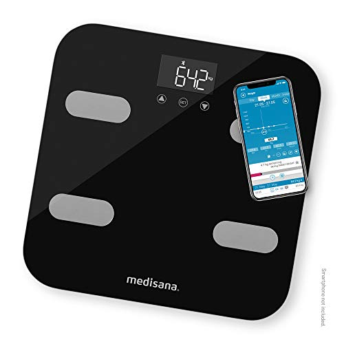 Medisana BS 602 Körperanalysewaage bis 180 kg mit W-LAN oder Bluetooth, Personenwaage zur Messung von Körperfett, Körperwasser, Muskelmasse und Knochengewicht mit VitaDock+ Körperanalyse App